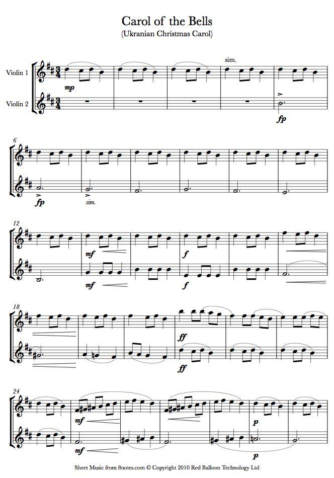 Carol of the Bells sheet music for Violin Duet