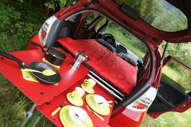 SwissRoomBox unfolded from rear trunk Honda Jazz