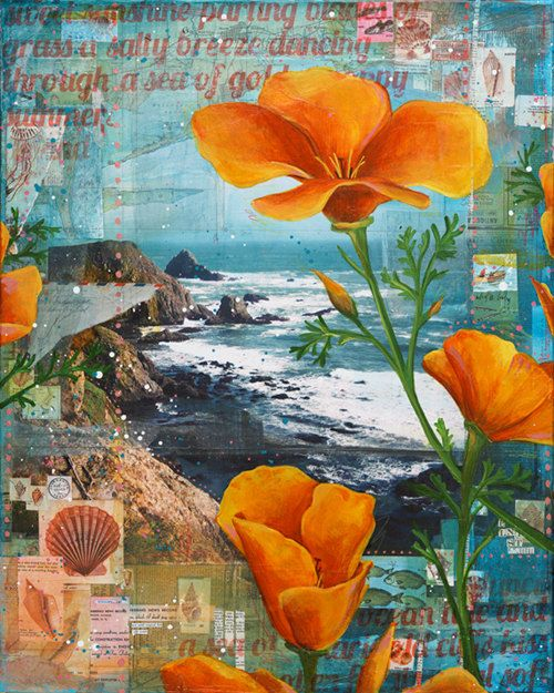 "Mixed media collage | ""Through a Field of Poppies"" by Mae Chevrette"