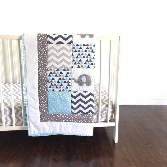 Elephant Baby Boy Crib Quilt XL by AlphabetMonkey on Etsy