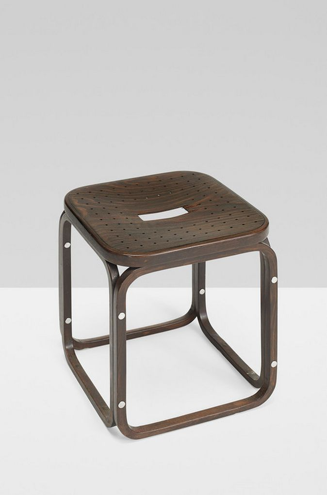 Awesome Otto Wagner Stained bent beech u aluminum stool for Thonet