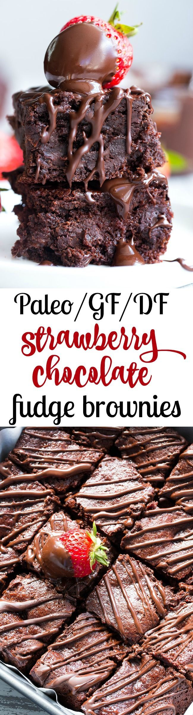 These fudgy paleo brownies are layered with easy homemade strawberry preserves and drizzled with more dark chocolate for the ultimate decadent (but healthy!) dessert.  They're grain free, dairy free, gluten free with a refined sugar free option.