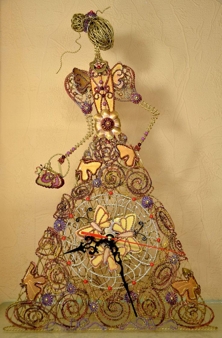 Large Desk Clock $300US,Handmade Metal Clock,Desk Clock,WhimsicalArt,Modern Desk Clock,Handmade Clock,Gift for Her