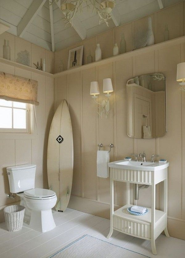 Board and batten a shelf? Beach House Decorating | Beach Cottage Interiors: 6 Bath Design Ideas | http://nauticalcottageblog.com