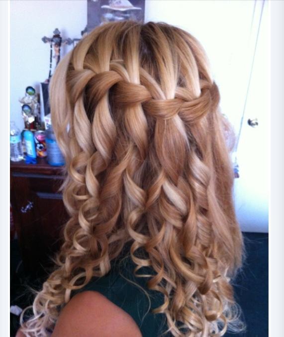 Braid Curl Wedding Hair: Waterfall Braid/curls