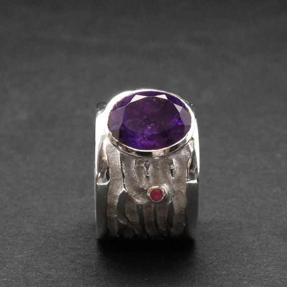 Amethyst Statement Big Ring Wide Band Sculpture by SunSanJewelry