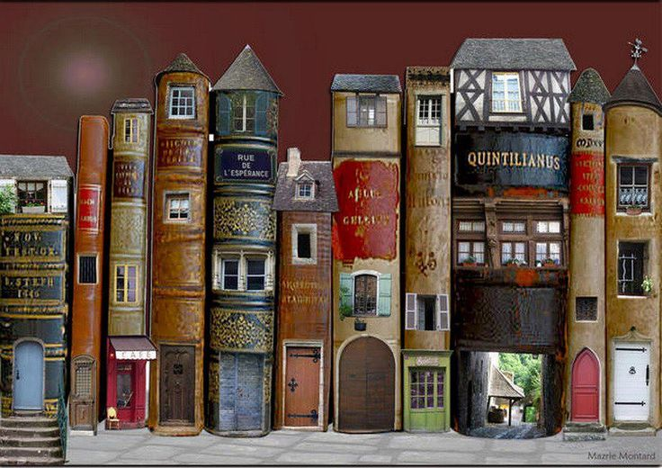 Altered book spines as a city row of French houses/businesses. Le village de livres by Marie Montard