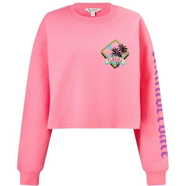Miss Selfridge Pink Surf Print Sweatshirt (273850 PYG) ❤ liked on Polyvore featuring tops, hoodies, sweatshirts, fluorescent pink, pink top, neon pink top, print sweatshirt, neon pink sweatshirt and miss selfridge tops