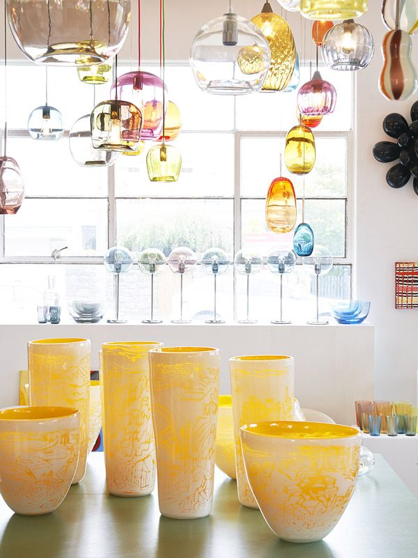 Handblown glass pendant lights in the Richmond showroom of Mark Douglass. Photo- Eve Wilson. Production- Lucy Feagins for thedesignfiles.net