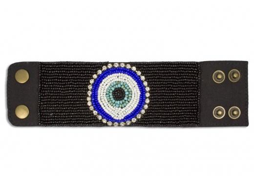 Turkish Eye Cuff (Black Beading)
