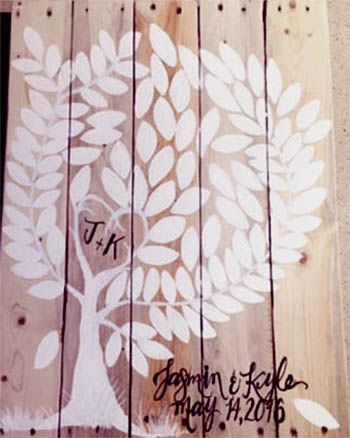 Hand painted Wedding Guest Sign in.  Have your guests sign a leaf to commemorate your day!  Other designs available.