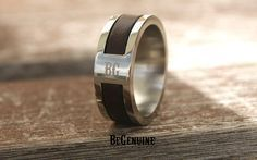 Unique Handmade Stainless Steel men's ring. Made with Genuine Leather Inlay and 316L Stainless Steel. Stainless Steel is hypoallergenic it will not change color, rust, or tarnish. Branded with BeGenui