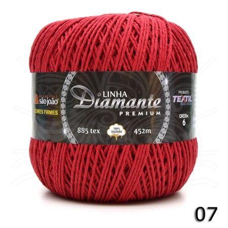 Barbante Diamante Premium nº06 400g na cor Vermelho N°07.