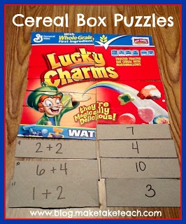 "This is a self-checking ""cereal box puzzle"" activity that would work well for a math center. If the student has correctly matched the cards, the box front image will be arranged properly when the cards are flipped over.    Link goes to an educational website, but not to the page this is on. Can figure it out from the pic though."