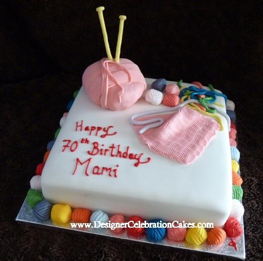 Happy Birthday Knitting Cake : Knitting themed cake designer celebration cakes