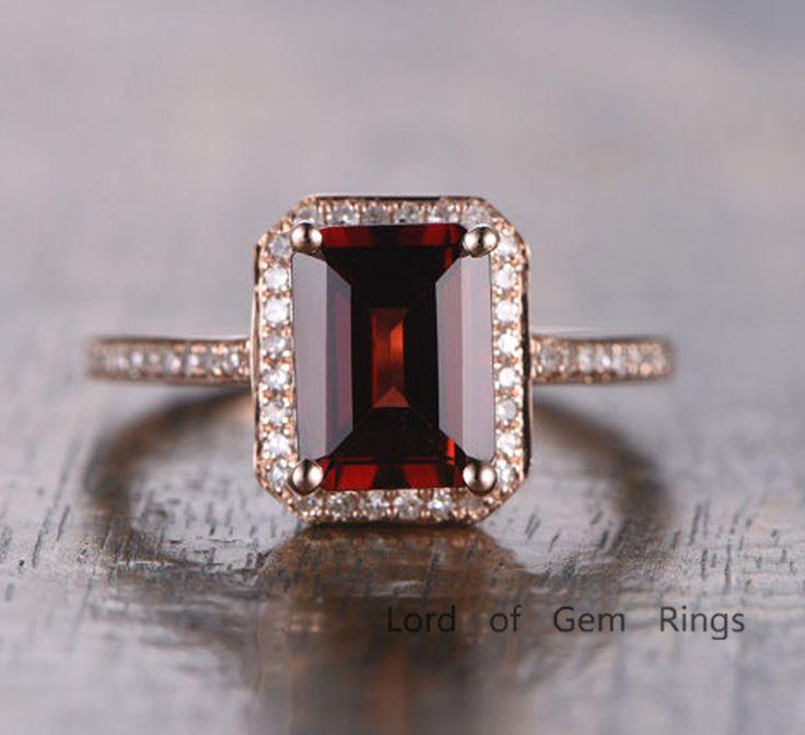 $499 Emerald Cut Garnet Engagement Ring Pave Diamond Wedding 14K Rose Gold 6x8mm