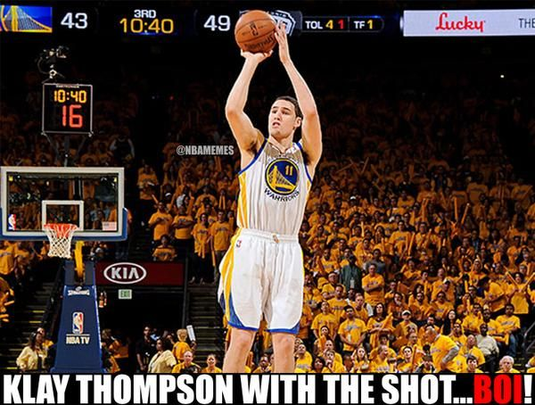 Move over Steph Curry…Hellooo Klay Thompson! #Warriors - http://nbafunnymeme.com/nba-memes/move-over-steph-curryhellooo-klay-thompson-warriors