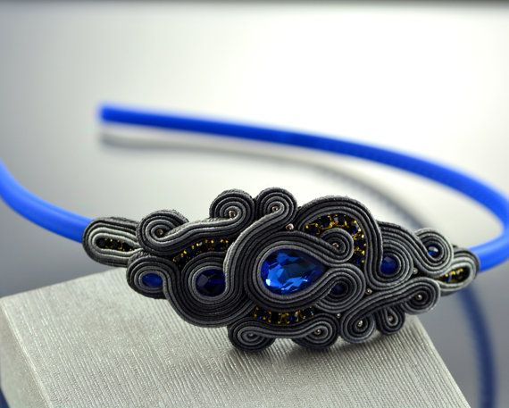 Soutache Headband Blue Gray Soutache Headband Gray by OzdobyZiemi