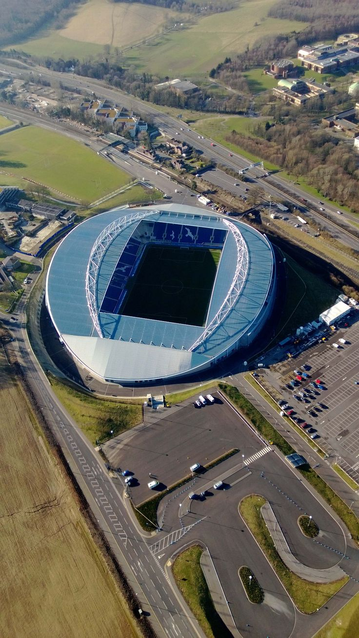 Aerial view of the American Express Community Stadium (Amex), Falmer, Brighton, East Sussex - home ground of Brighton Hove Albion #bhafc