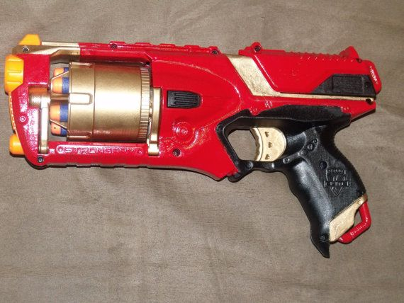 Custom Painted Nerf Elite Strongarm Blaster Gun In Red
