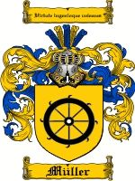 Muller Coat of Arms / Muller Family Crest The name of MULLER was of German and Swiss origin. It was an occupational name meaning 'one who g...