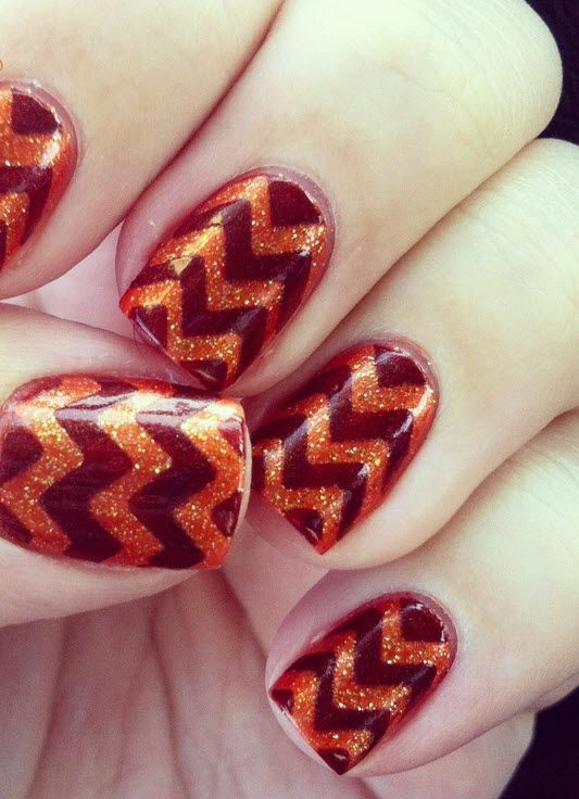 Virginia Tech nails for #gameday! @Virginia Tech @Virginia Tech Hokies Athletics #hokies #nails #chevron