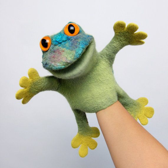 the speaking frog, beautifully colorful, wet felted hand puppet