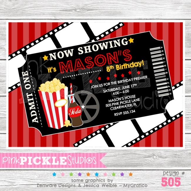 41 best Red carpet party ideas images on Pinterest Hollywood - movie ticket invitation template free printable