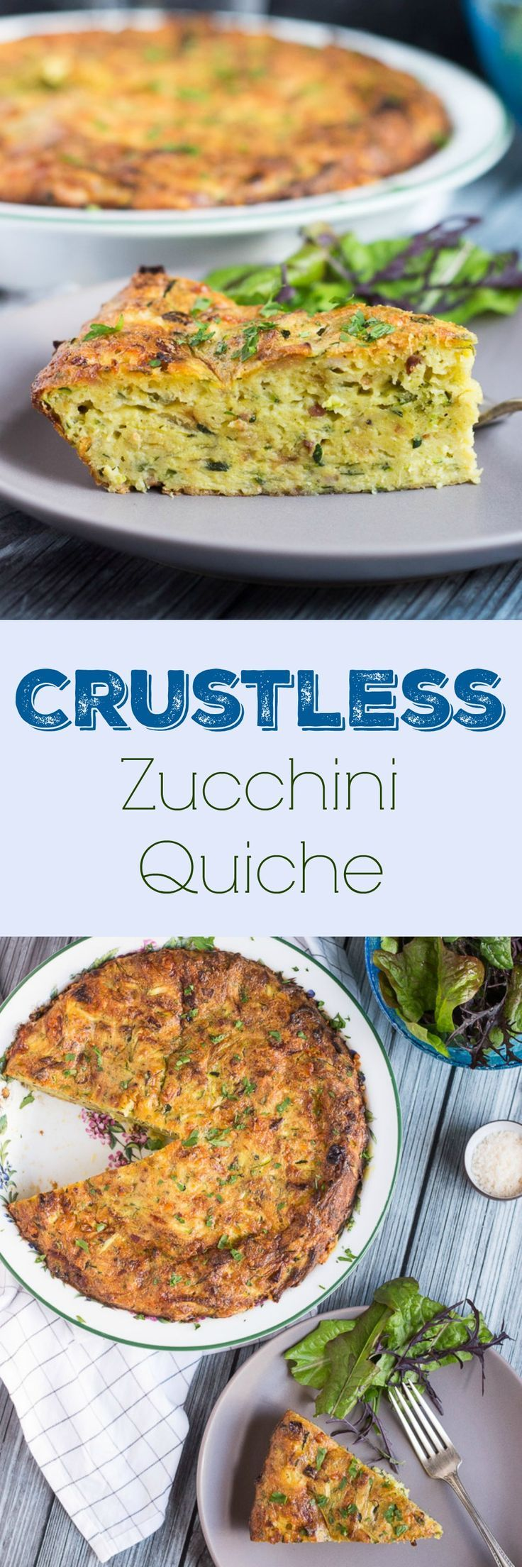 Crustless Zucchini Quiche. Quick to make, & a good way to use up an abundant…