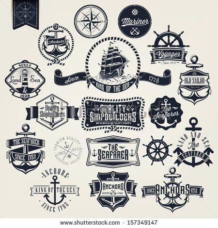 Nautical Ship logo Clip Art   Set Of Vintage Retro Nautical Badger And Labels - stock vector