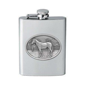 Racehorse Flask by Heritage Pewter. $29.99. This 8 ounce stainless steel racehorse flask is embellished with a fine pewter casting. Assembled in USA.