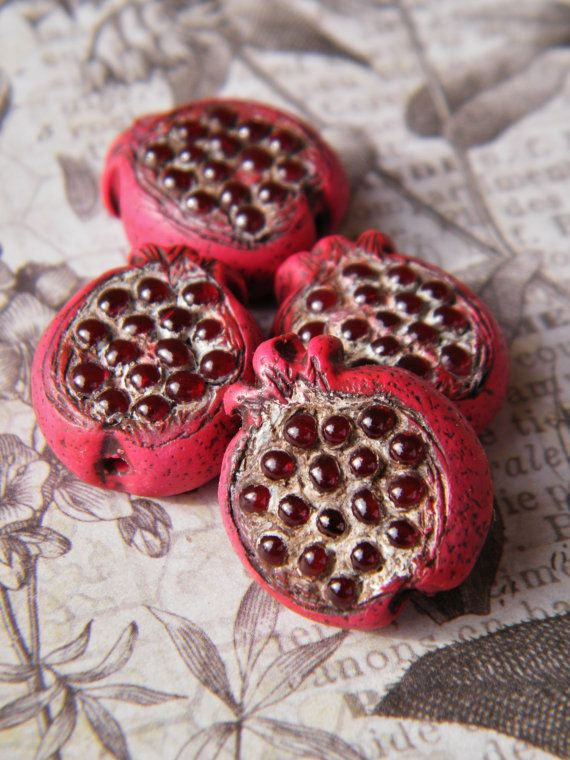 NEW Pomegranate Folk Art Bead ONE Bead Focal by SweetBirchDesigns
