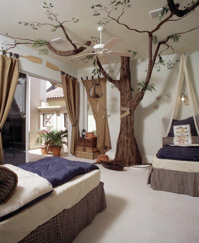 Design Interieur Deco Plafond Chambre Enfant Tente Arbre Lit