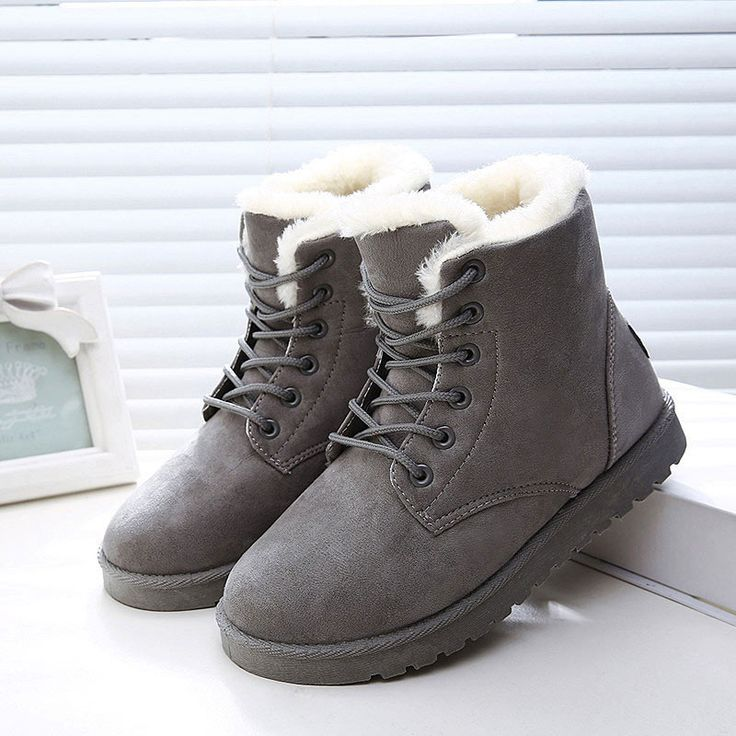 Womens Flat Ankle Boots Warm Fur Winter Snow Boots Shoes Brown 7