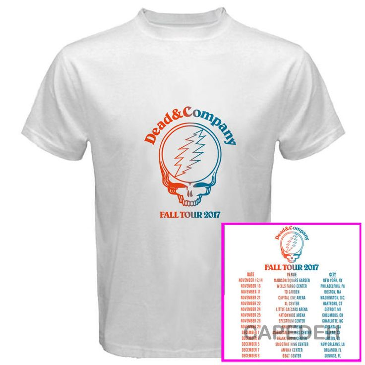 Dead & Company Fall tour dates nov-dec 2017 white  tees; Material 100% cotton, Basic style; Short sleeve;