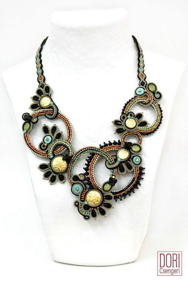 Dori Csengeri   ADE-N324, aden324, copper, copper color, large necklace, large necklaces, haute couture necklace, passementerie