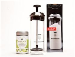 Matcha Latte Set for Green Tea Lattes with Bodum Milk Frother and Gotcha Matcha Cafe Grade - with recipe