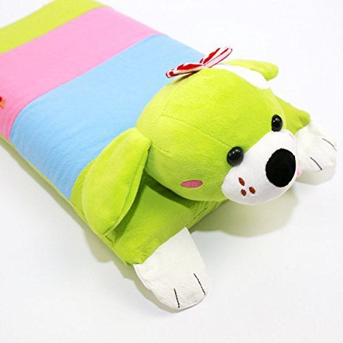 EONSHINE 100% Eco-friendly Natural Ventilated Latex Foam Bed Pillows for Kids Students, 3-10 Years (With Green Cartoon Cover)