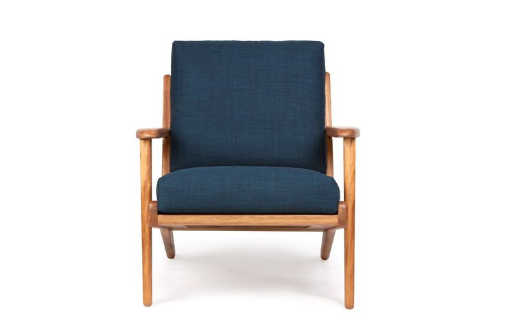 Map Arm Chair Royal Blue Fabric - Lounge Chairs - Furniture