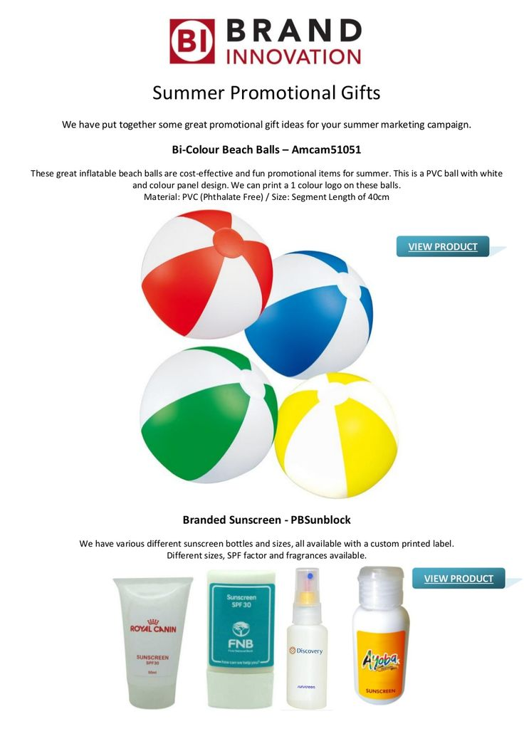 Summer Promotional Gifts Ideas for Your Advertising Campaign by brandinnovation via slideshare