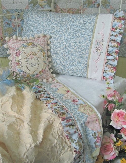 Forget Me Not Bedding Set  Hand Embroidery Pattern Crabapple Hill Studios