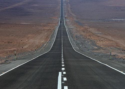 Desert road near Taltal, Chile