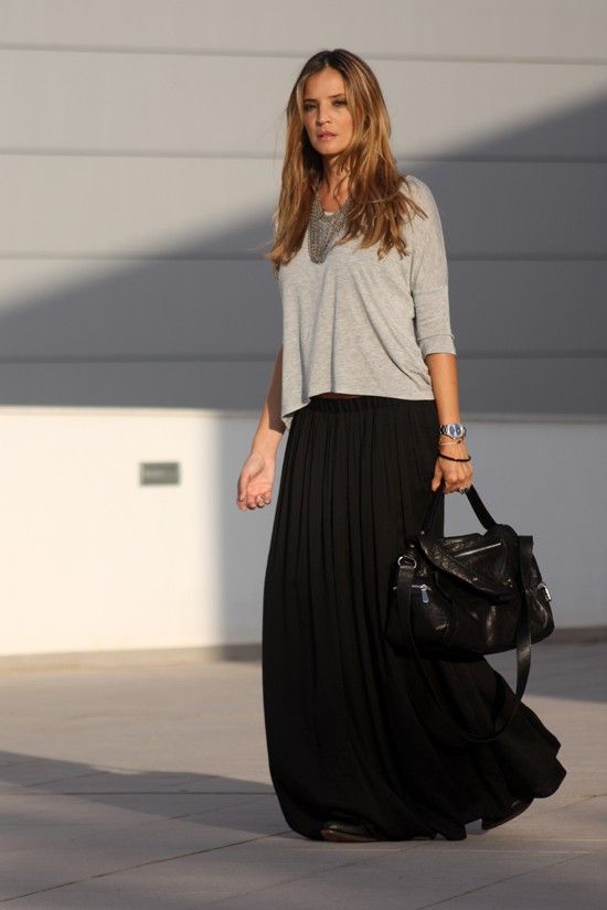 loose tshirt and black long skirt