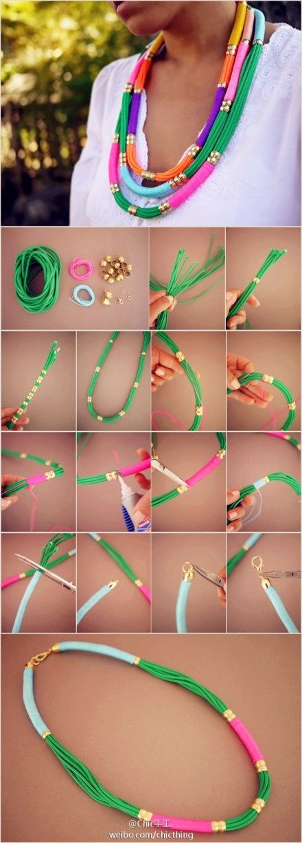 DIY thread and bead necklace