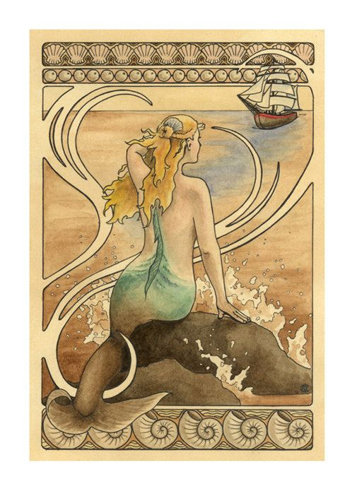 """Mermaid sits on a water sprayed rock in the ocean and watches a ship approach, art nouveau border - Art Reproduction (Print) - """"Mermaid"""". $35.00, via Etsy."""