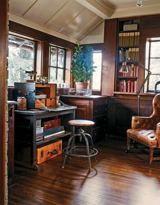 vintage industrial office Suitcase placement idea