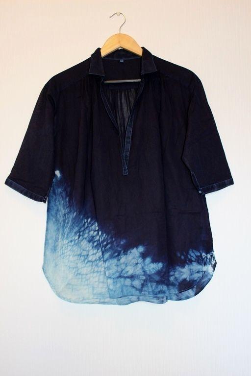 ◆天然灰汁発酵建て 本藍染め作品◆ 裾絞り模様 五分袖チュニック