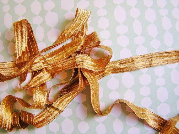Copper and Gold Fondant stripe pearl shimmer ribbon woven trim
