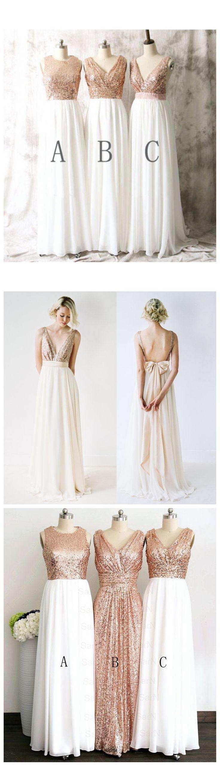 Rose gold bridesmaid dresses, Sequin bridesmaid dresses, long bridesmaid dresses, chiffon bridesmaid dresses, Mismatched bridesmaid dresses, 17047