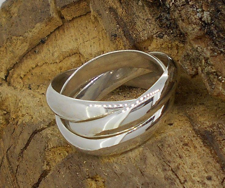 tres anillos entrelazados de media caña, 4mm de grosor